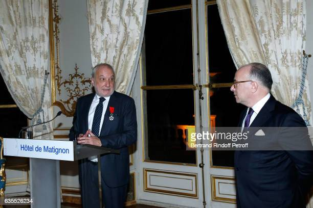 Francois Berleand and French Prime Minister Bernard Cazeneuve attend Francois Berleand is elevated to the rank of 'Officier de la Legion d'Honneur'...