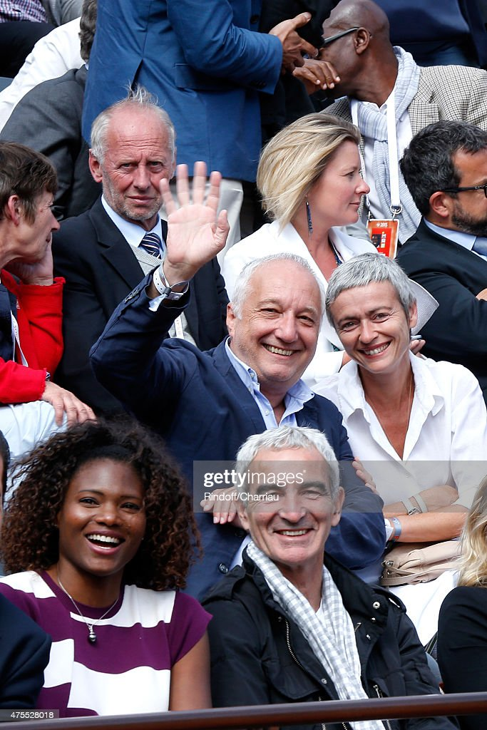 Francois Berleand and his wife Alexia Stresi, (1st Row L-R) Athlet Muriel Hurtis and Raymond Domenech attend the 2015 Roland Garros French Tennis Open - Day Nine on June 1, 2015 in Paris, France.