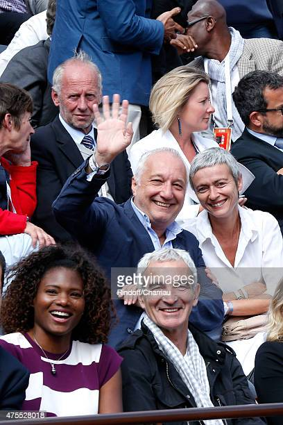 Francois Berleand and his wife Alexia Stresi Athlet Muriel Hurtis and Raymond Domenech attend the 2015 Roland Garros French Tennis Open Day Nine on...