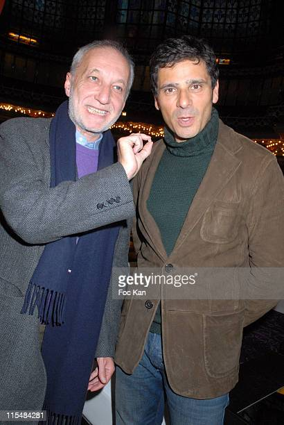 Francois Berleand and Pascal Elbe during Diamond Trading Company 'Osez le Diamant' Cocktail Party at Coupole du Printemps in Paris France
