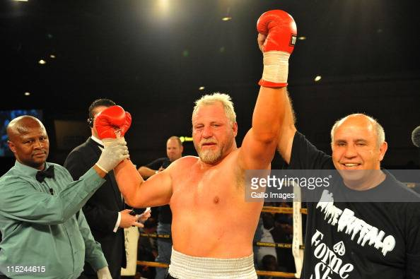 Francois Botha celebrates his win over Flo Simba during the Heavyweight Bout at Emperors Palace on June 4 2011 in Johannesburg South Africa