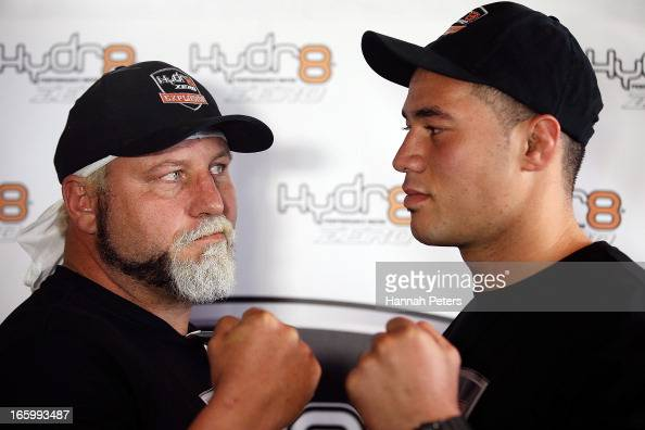Francois Botha of South Africa poses for a photo with New Zealand boxer Joseph Parker followng a press conference at the Northern Steamship Bar on...