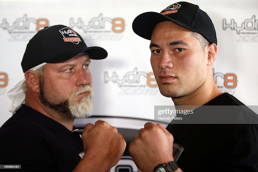 Francois Botha of South Africa poses for a photo with New Zealand boxer Joseph Parker followng a press conference at the Northern Steamship Bar on April 8, 2013 in Auckland, New Zealand. Parker will fight Botha in 8 x 3 minute rounds on Thursday 13 June in Auckland.