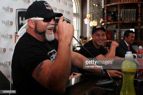 Francois Botha of South Africa talks during a press conference with New Zealand boxer Joseph Parker at the Northern Steamship Bar on April 8 2013 in...