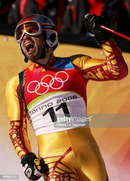 Francois Bourque of Canada competes in the First Run of the Mens Alpine Skiing Giant Slalom competition on Day 10 of the 2006 Turin Winter Olympic...