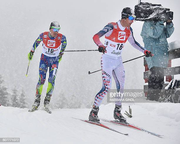 Francois Braud of France and Bryan Fletcher of USA compete during the nordic combined triple world cup on January 31 2016 in Seefeld Austria / AFP /...