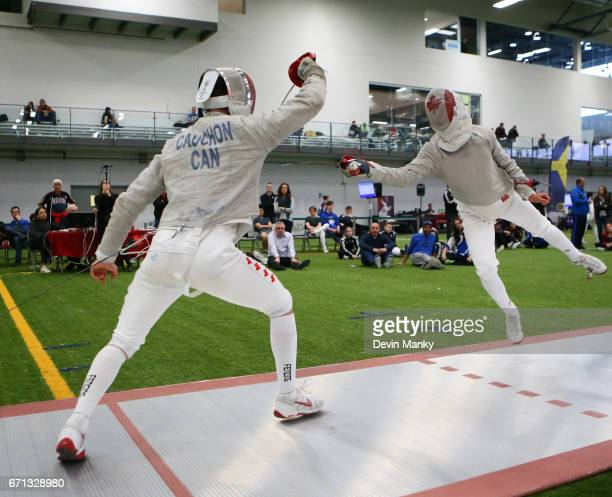 Francois Cauchon fences Angelo Chiara during the Junior Men's Sabre event on April 21 2017 at the Canadian National Fencing Championships at the...
