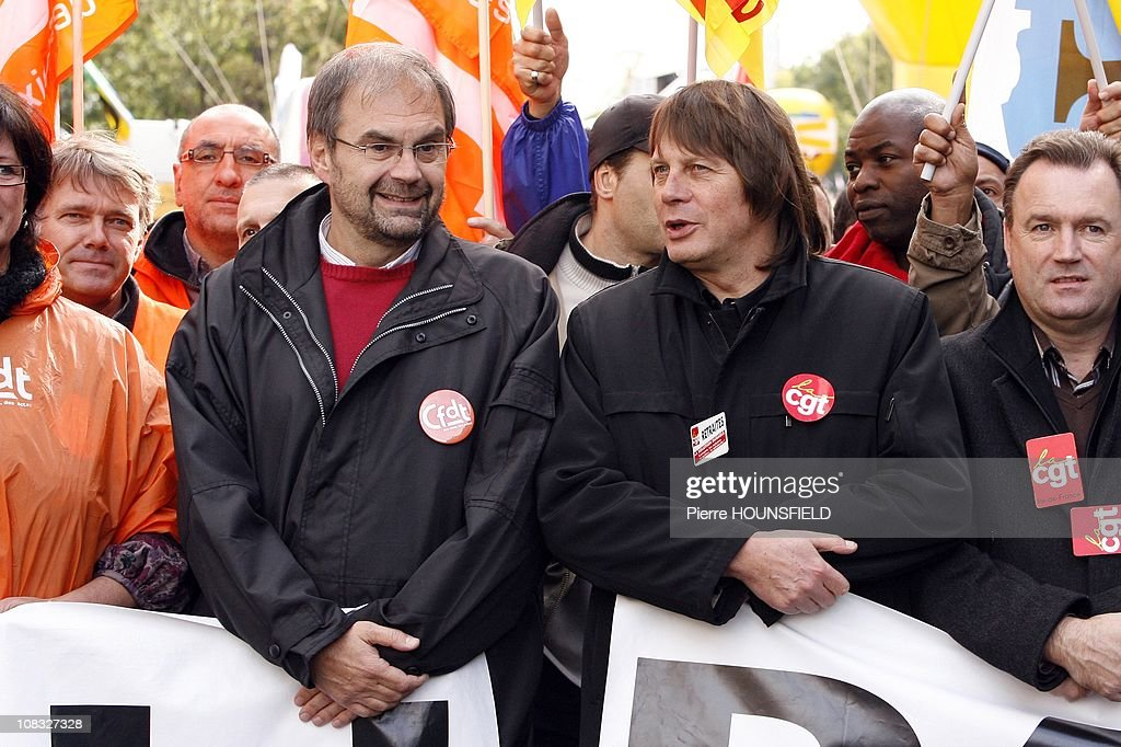 Francois Chereque and Bernard Thibault during the rally against pension reform in Paris France on October 19th 2010