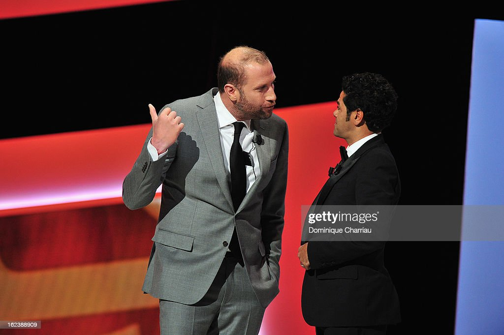 Francois Damiens and Jamel Debbouze attend the Cesar Film Awards 2013 at Theatre du Chatelet on February 22, 2013 in Paris, France.