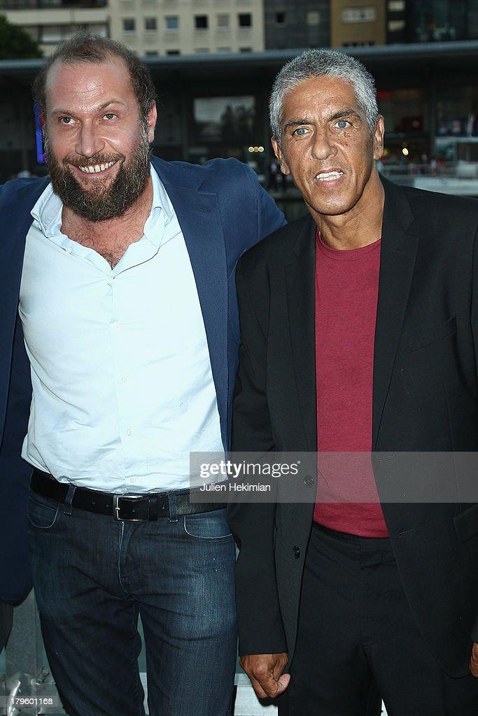 Francois Damiens (L) and Samy Naceri attends 'Tip Top' Paris Premiere at Mk2 Quai de Seine on September 5, 2013 in Paris, France.