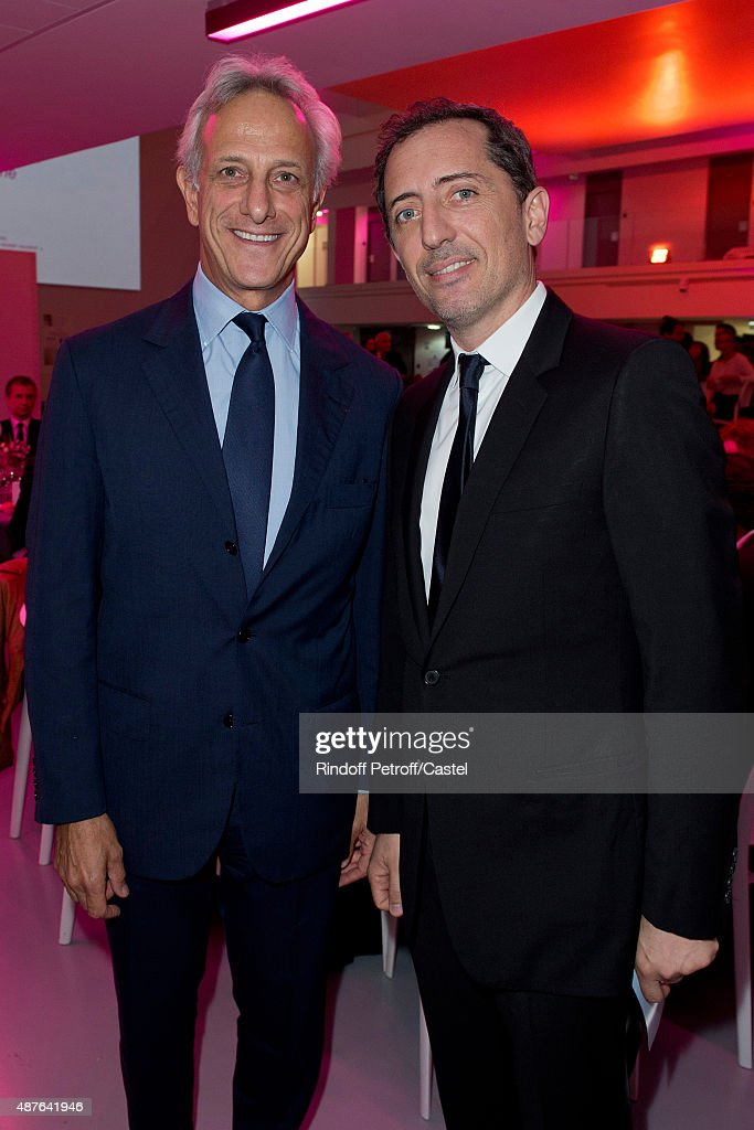 Francois de Ricqles and Gad Elmaleh attend the Auction Dinner to Benefit 'Institiut Imagine' on September 10, 2015 in Paris, France.