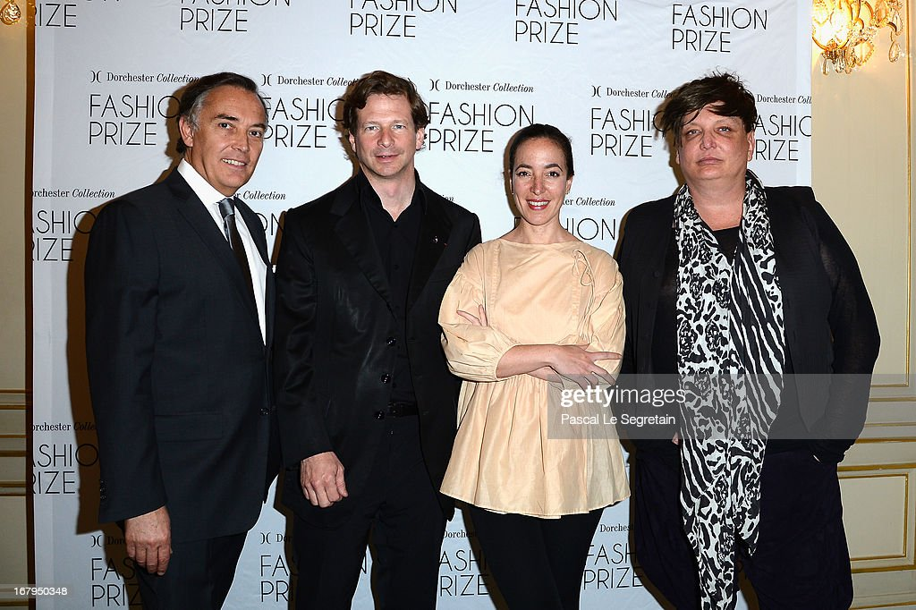Francois Delahaye (L), Lorenz Baumer, Pamela Golbin and Kappauf (R) attend the 2013 Launch of the Dorchester Collection Fashion Prize 2013 at Hotel Plaza Athenee on May 3, 2013 in Paris, France.
