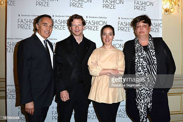 Francois Delahaye Lorenz Baumer Pamela Golbin and Kappauf attend the 2013 Launch of the Dorchester Collection Fashion Prize 2013 at Hotel Plaza...