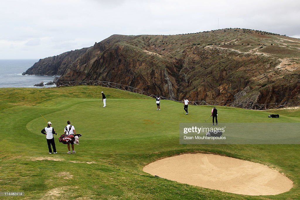 Francois Delamontagne of Fance hits his putt on the 13th green during day three of the Madeira Islands Open on May 21, 2011 in Porto Santo Island, Portugal.