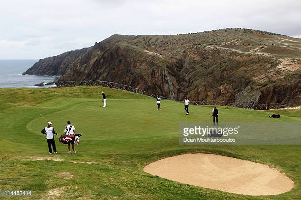 Francois Delamontagne of Fance hits his putt on the 13th green during day three of the Madeira Islands Open on May 21 2011 in Porto Santo Island...