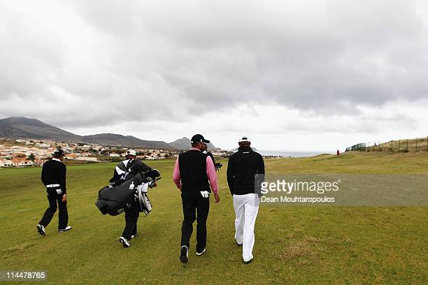Francois Delamontagne of Fance James Elson of England and Simon Thornton of Ireland walk on the 1st hole during day three of the Madeira Islands Open...