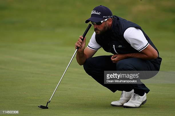 Francois Delamontagne of Fance lines up a putt on the 16th hole during the final day of the Madeira Islands Open on May 22 2011 in Porto Santo Island...