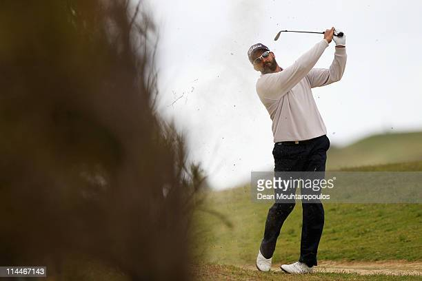 Francois Delamontagne of Fance plays his second shot on the 1st hole during day two of the Madeira Islands Open on May 20 2011 in Porto Santo Island...