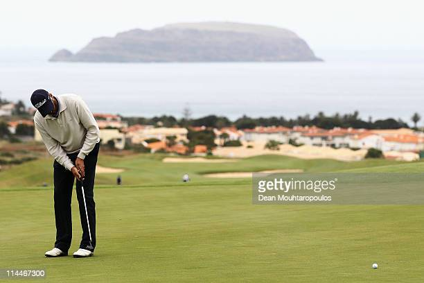 Francois Delamontagne of Fance putts on the 1st green during day two of the Madeira Islands Open on May 20 2011 in Porto Santo Island Portugal
