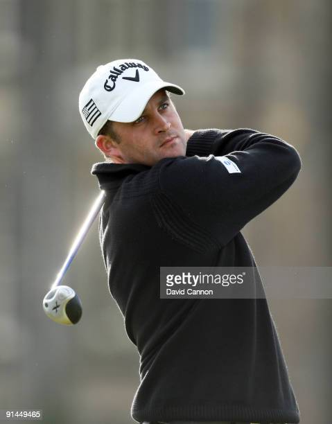 Francois Delamontagne of France drives off the second tee during the final round of The Alfred Dunhill Links Championship at The Old Course on...