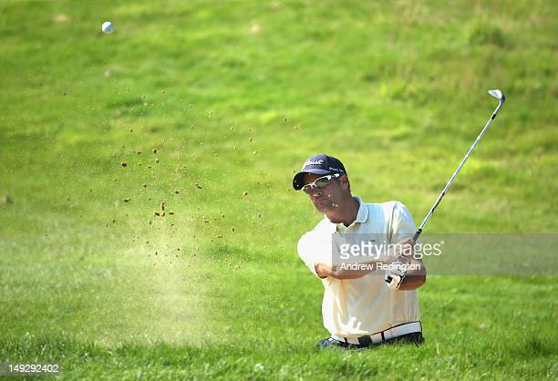 Francois Delamontagne of France in action during the first round of the English Challenge at Stoke by Nayland Golf Hotel and Spa on July 26 2012 in...