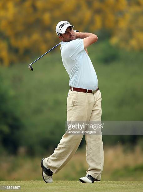 Francois Delamontagne of France in action during the second round of the English Challenge at Stoke by Nayland Golf Hotel and Spa on July 27 2012 in...