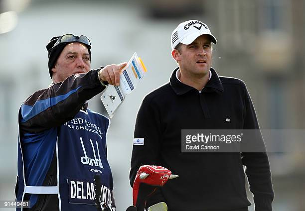 Francois Delamontagne of France on the second tee during the final round of The Alfred Dunhill Links Championship at The Old Course on October 5 2009...