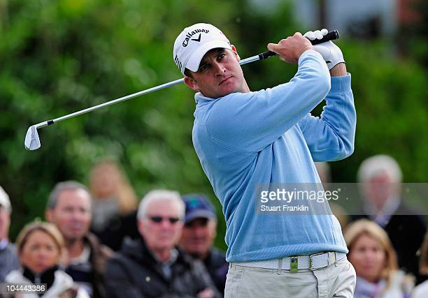 Francois Delamontagne of France plays his tee shot on the 10th hole during the third round of the Vivendi cup at Golf de Joyenval on September 25...