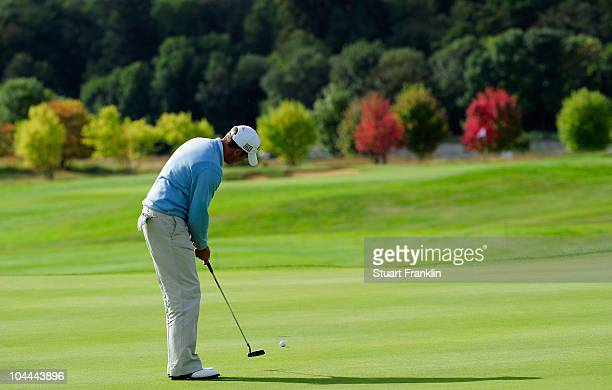 Francois Delamontagne of France putting on the 10th hole during the third round of the Vivendi cup at Golf de Joyenval on September 25 2010 in...