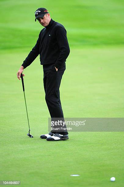 Francois Delamontagne of France watches his putt miss on the 16th hole during the final round of the Vivendi cup at Golf de Joyenval on September 26...