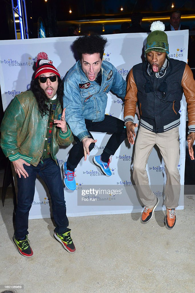 Francois Djemel, Lorent Idir and Patrick Biyik from the Twin Twin band attend 'Les Toiles Enchantees' Children Care Association Auction Dinner During The 50th Foire du Trone at Pelouse de Reuilly on March 29, 2013 in Paris, France.