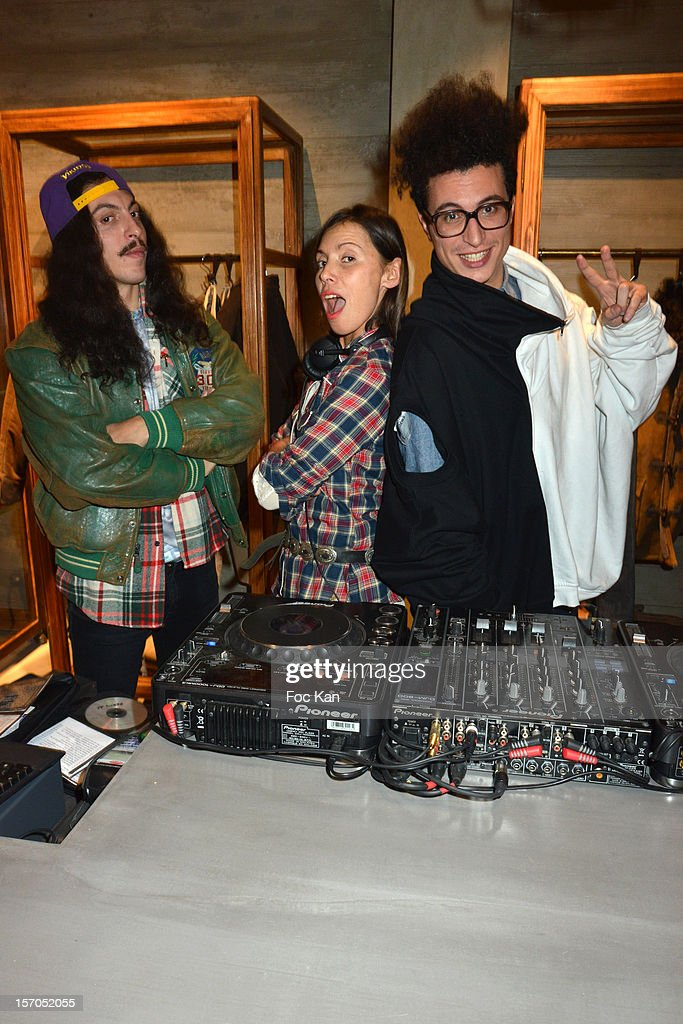 Francois Djemel, Nadege Winter and Laurent Idir from the Twin Twin band attend the MCS 'We The People' launch party at MCS Champs Elysees on November 27, 2012 in Paris, France.