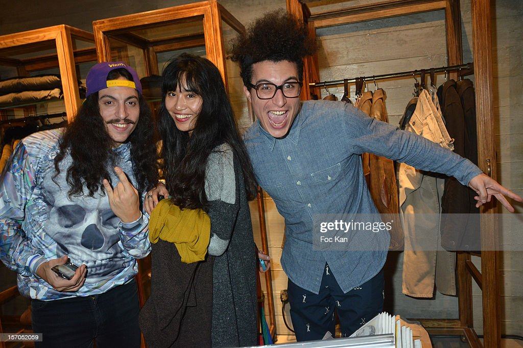 Francois Djemel, Nikki Wang and Laurent Idir from Twin Twin attend the MCS 'We The People' launch party at MCS Champs Elysees on November 27, 2012 in Paris, France.