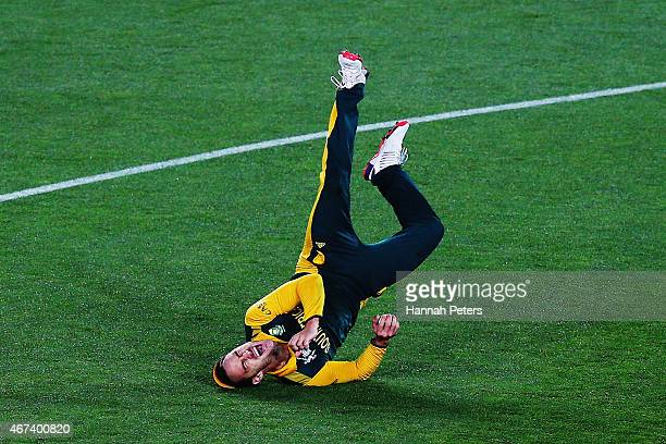 Francois du Plessis of South Africa celebrates after making a catch to dismiss Corey Anderson of New Zealand during the 2015 Cricket World Cup Semi...