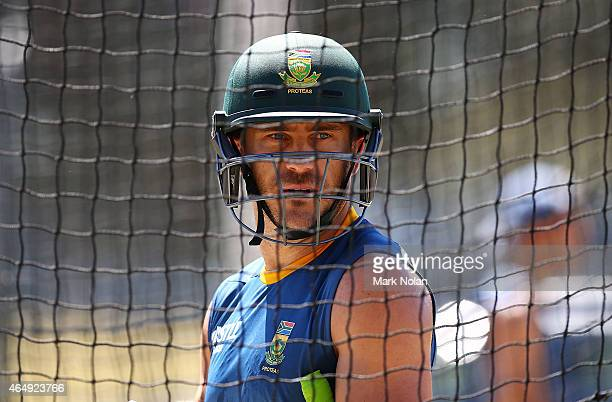 Francois du Plessis prepares for batting practice during a South Africa nets session at Manuka Oval on March 2 2015 in Canberra Australia