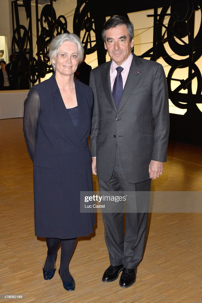 Francois Fillon and his wife Penelope attend the 'Societe des amis du Musee D'Art Moderne' : Annual Dinner. Held at Centre Pompidou on March 11, 2014 in Paris, France.