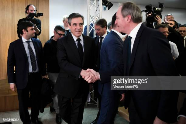 Francois Fillon candidate of Les Republicains right wing Party for the 2017 French Presidential Election delivers a speech during a question and...