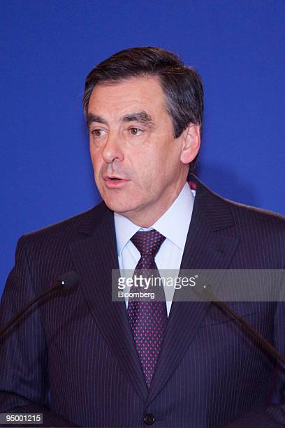 Francois Fillon France's prime minister speaks at a news conference in Beijing China on Tuesday Dec 22 2009 Fillon called on China to move toward a...