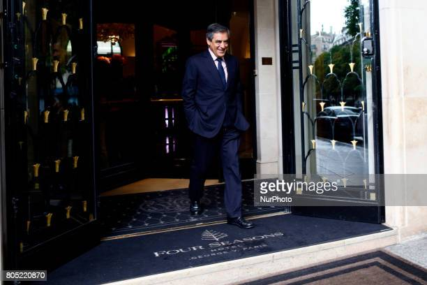 Francois Fillon leaves the Georges V Hotel in Paris France on June 30 2017