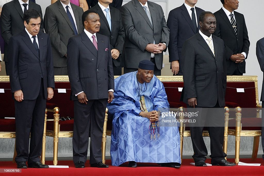 Francois Fillon, Sassou Ngueso, <a gi-track='captionPersonalityLinkClicked' href=/galleries/search?phrase=Amadou+Toumani+Toure&family=editorial&specificpeople=600956 ng-click='$event.stopPropagation()'>Amadou Toumani Toure</a>, <a gi-track='captionPersonalityLinkClicked' href=/galleries/search?phrase=Francois+Bozize&family=editorial&specificpeople=598778 ng-click='$event.stopPropagation()'>Francois Bozize</a> in Paris, France on July 14th, 2010.
