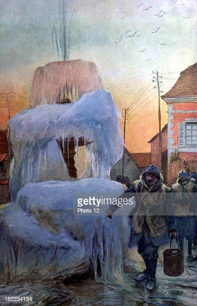 Francois Flameng 'In Champagne' Fountain of Savigny in Winter Drawing