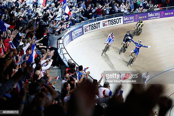 Francois 'Franck' Pervis of France celebrates winning the gold medal in the Mens Keirin race during day 2 of the UCI Track Cycling World...