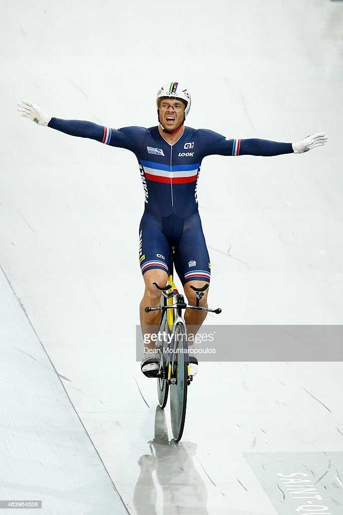 Francois 'Franck' Pervis of France celebrates winning the gold medal in the Mens 1km Time Trial race during day 3 of the UCI Track Cycling World Championships held at National Velodrome on February 20, 2015 in Paris, France.