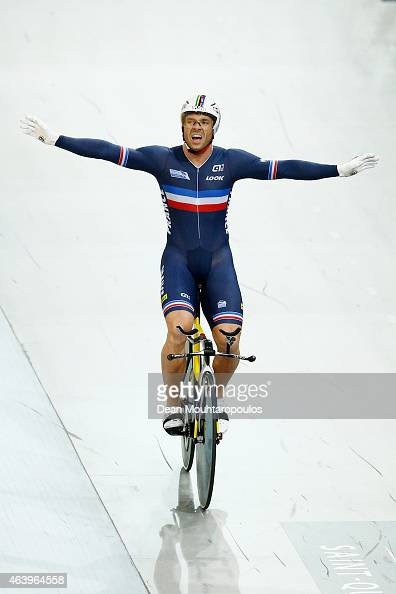 Francois 'Franck' Pervis of France celebrates winning the gold medal in the Mens 1km Time Trial race during day 3 of the UCI Track Cycling World...