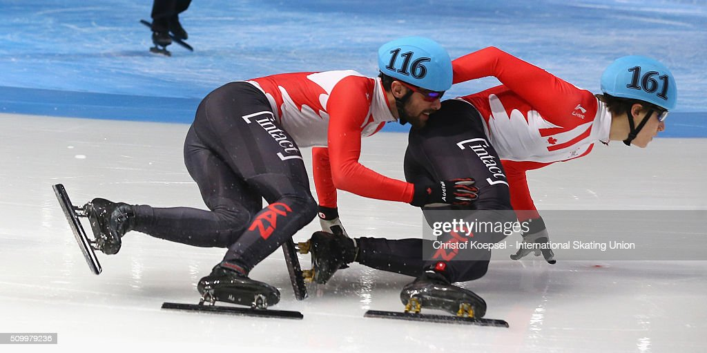 <a gi-track='captionPersonalityLinkClicked' href=/galleries/search?phrase=Francois+Hamelin&family=editorial&specificpeople=4863975 ng-click='$event.stopPropagation()'>Francois Hamelin</a> of Canada and Alexander Fathoullin of Canada skate during the men 1500m final A during Day 2 of ISU Short Track World Cup at Sportboulevard on February 13, 2016 in Dordrecht, Netherlands.