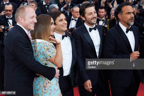 Francois Henri Pinault Salma Hayek and Gael Garcia Bernal attend the 70th Anniversary of the 70th annual Cannes Film Festival at Palais des Festivals...