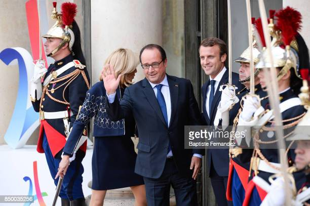 Francois Hollande and Emmanuel Macron French President during the reception of the CIO by the French President at Elysee Palais on September 15 2017...