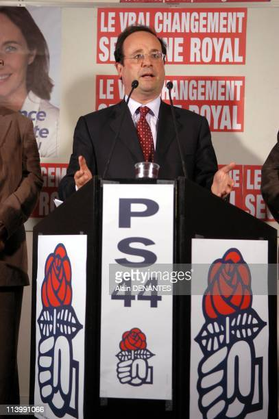 Francois Hollande at the press conference to support Segolene Royal candidate of socialist party in the second round of the presidential election...