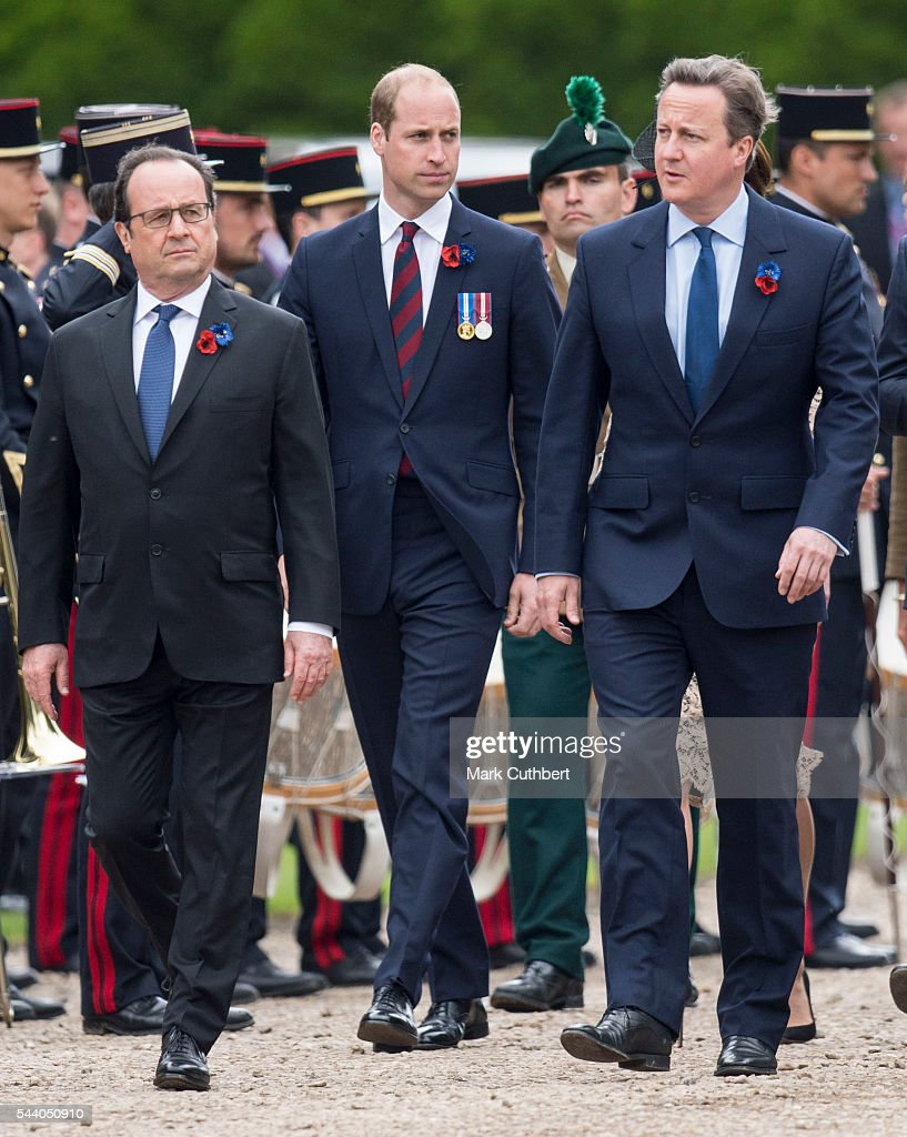 Francois Hollande, <a gi-track='captionPersonalityLinkClicked' href=/galleries/search?phrase=David+Cameron+-+Politician&family=editorial&specificpeople=227076 ng-click='$event.stopPropagation()'>David Cameron</a> and <a gi-track='captionPersonalityLinkClicked' href=/galleries/search?phrase=Prince+William&family=editorial&specificpeople=178205 ng-click='$event.stopPropagation()'>Prince William</a>, Duke of Cambridge attend a Commemoration of the Centenary of the Battle of the Somme at The Commonwealth War Graves Commission Thiepval Memorial on July 01, 2016 in Thiepval, France.
