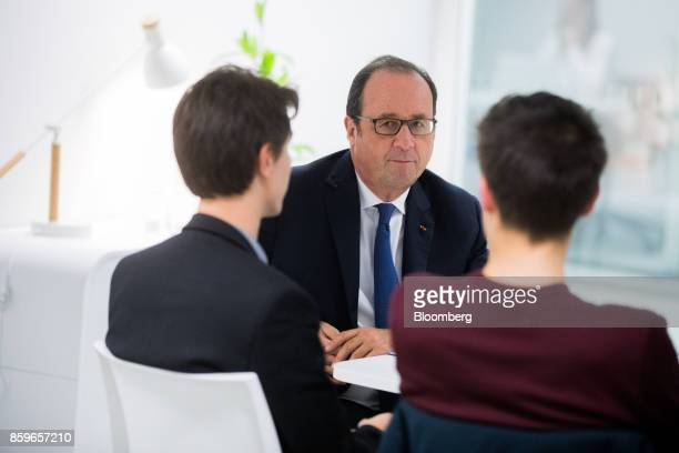 Francois Hollande France's former president attends a meeting with young entrepreneurs in the offices of nonprofit foundation 'La France sengage'...